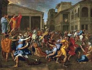 Nicolas Poussin: El rapto de las Sabinas, 1637. Musée du Louvre.