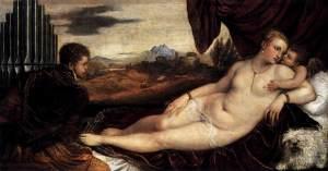 Tiziano Vecellio: Venus y Cupido con el organista, 1549. Staatliche Museen, Berlín.