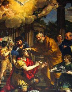 Pietro Berettini da Cortona: Ananías restaura la vista de San Pablo, 1631. Iglesia de Santa María de la Consezione, Roma.