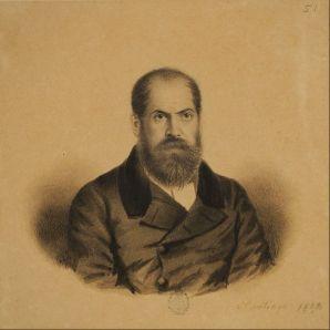 Ignacio Baz: Retrato de Sarmiento en la época de su exilio en Chile (ca. 1852). Museo Nacional de Bellas Artes, Buenos Aires.