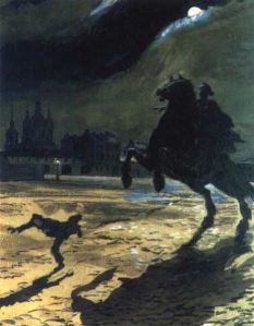 """Alexandre Benois: Ilustración para """"El jinte de bronce"""", de Alexander Pushkin, 1905."""