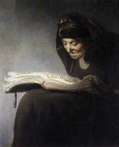 Rembrandt van Rijn: Retrato de su madre leyendo (1629). Wilton House, Wiltshire.