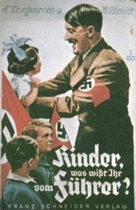 Hitler with children propaganda poster WW2