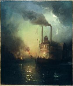 Charles McIlhenney: Barco a vapor en la noche en el río Mississippi, 1885. Colección Arthur Phelan