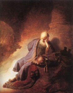 Rembrandt van Rijn: Jeremías lamentando la destrucción de Jerusalén, 1630. Rijkmuseum, Amsterdam.