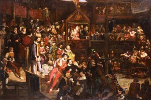 David Scott: La reina Isabel en el teatro The globe, 1840. Victoria and Albert Museum, Londres.