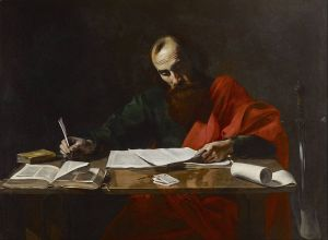 Valentin de Boulogne: Pablo escribiendo sus epístolas, 1618. Museo de Bellas Artes de Houston, Texas.