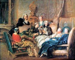 Jean François de Troy: Lectura de Molière en el salon, 1728. Colección privada.