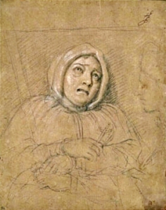 Charles Le Brun: Marie Madelaine Marguerite Aubray, Marquise de Brinvilliers, 1676. Boceto.