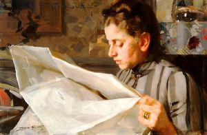 Anders Zorn: Retrato de Emma Zorn leyendo, 1887. Zornsamlingarna, Mora, Suecia.