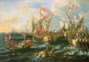 Lorenzo Castro: Batalla de Actium, 1672. National Maritime Museum of Greenwich, Londres.