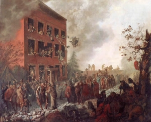 Johann Eckstein: Rioters Burning Dr. Priestley's House at Birmingham, 14 July 1791, (1791). Susan Lowndes Marques Collection.