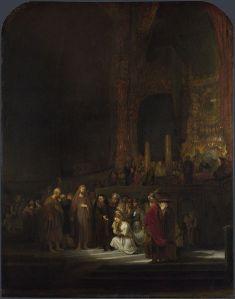 Rembrandt van Rijn: La mujer adúltera, 1644. National Gallery, Londres.