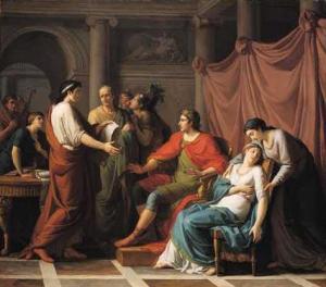 Jean-Joseph Taillasson: Virgilio lee la Eneida a Augusto y Octavia, 1787. National Gallery, Londres.