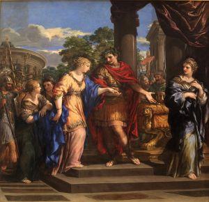 Pietro da Cortona: César cede a Cleopatra el trono de Egipto, 1637. Museo de Bellas Artes de Lyon.