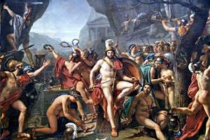 Jacques-Louis David: Leónidas en las Termópilas, 1814. Museé du Louvre.